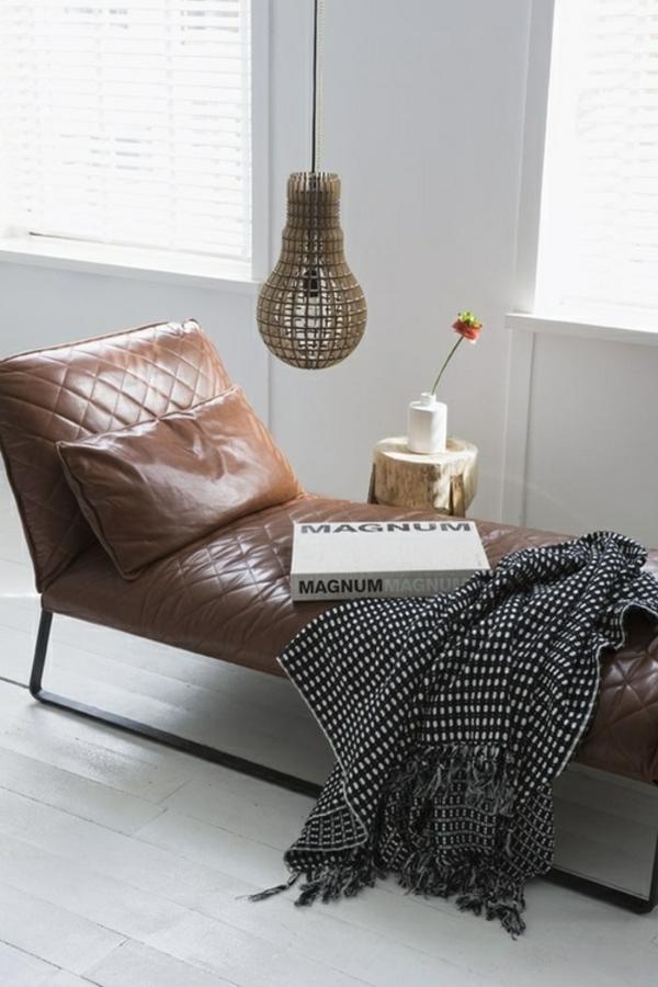 Leder Relaxliegen Braun Wohnzimmer Modern Einrichten
