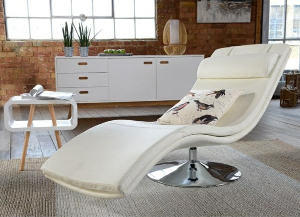 leder relaxliegen weiß wohnzimmer modern einrichten designer möbel