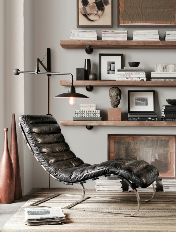 leder relaxliegen wohnzimmer teppichboden rustikale einrichtungsideen leseecke gestaltten