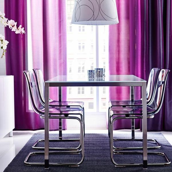 lila metall gardinen fenster vorhänge esszimmer tisch