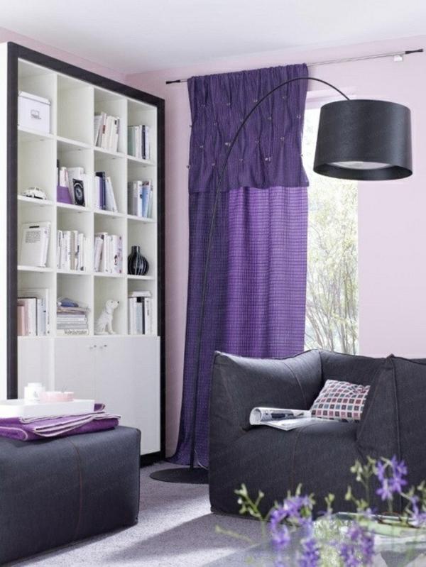 lila gardinen vorhänge klassisch wohnzimmer