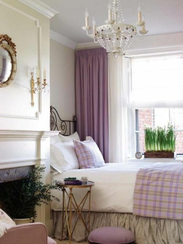 lila kronleuchter gardinen fenster vorhänge schlafzimmer