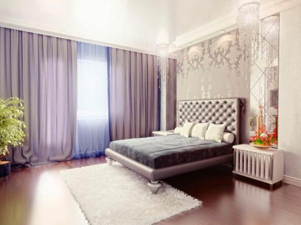 lila teppich weiß gardinen fenster vorhänge schlafzimmer bett