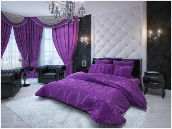 lila fenster vorhänge schlafzimmer bettdecke