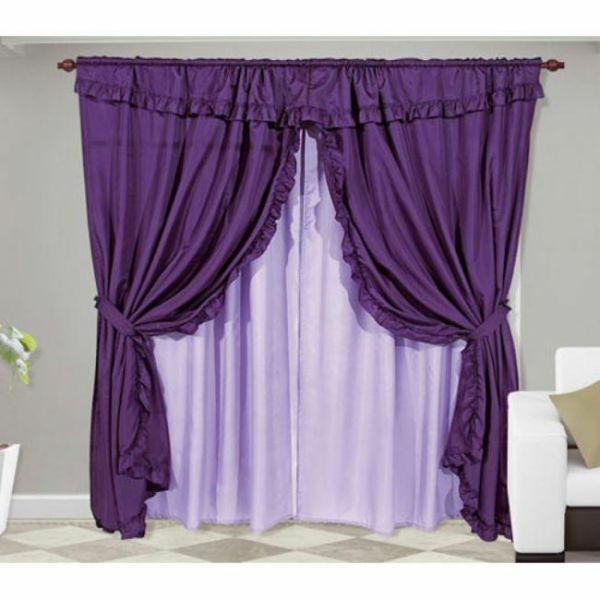 fenster vorhänge lila gardinen schlafzimmer designs
