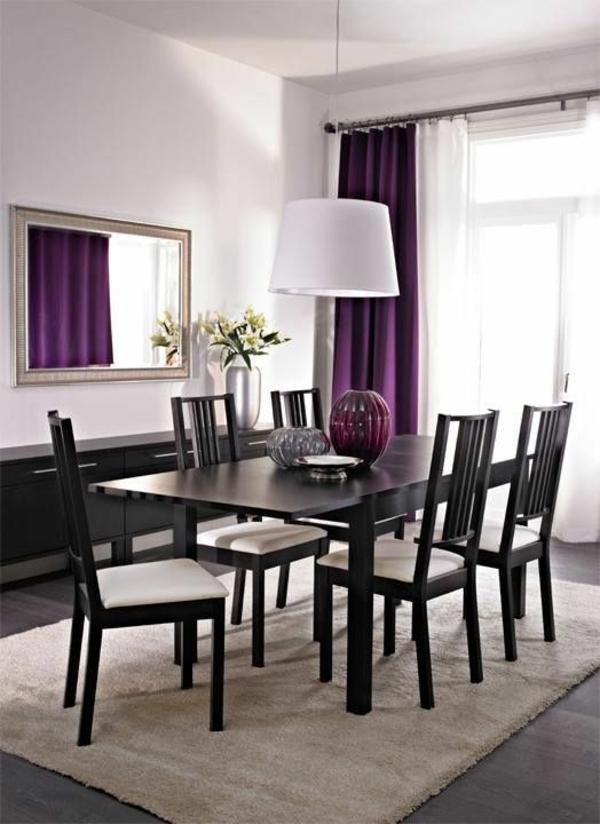 lila gardinen fenster vorhänge schlafzimmer esstisch
