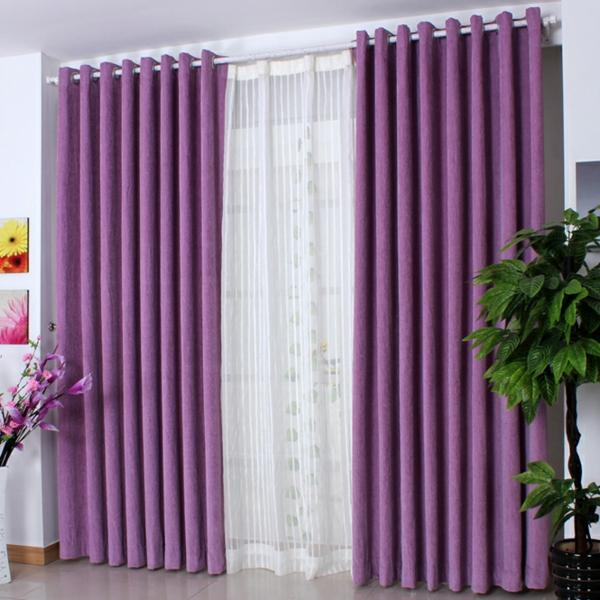 purpurrot gardinen fenster vorhänge schlafzimmer ideen