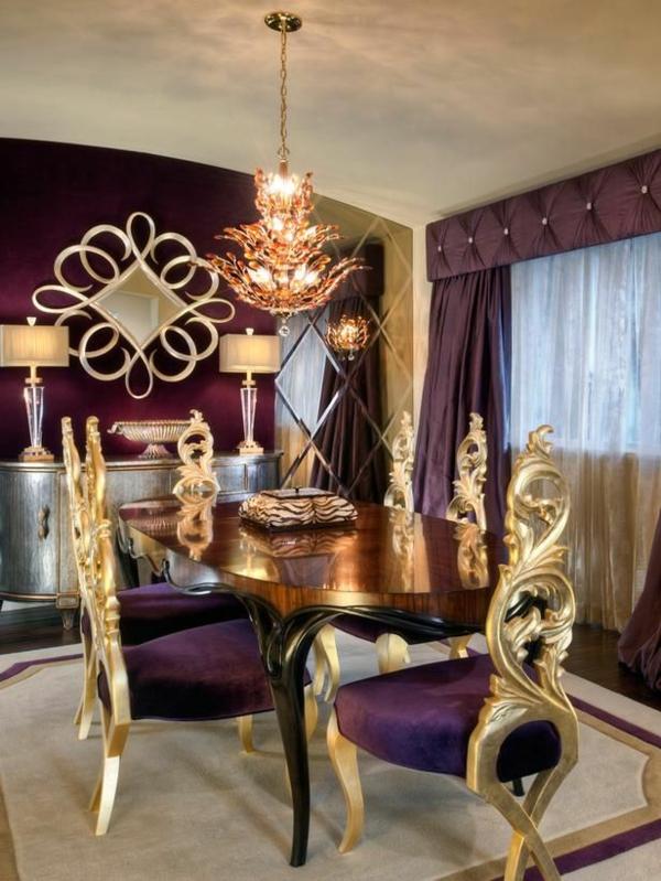 gardinen in violett  fenster vorhänge schlafzimmer klassisch
