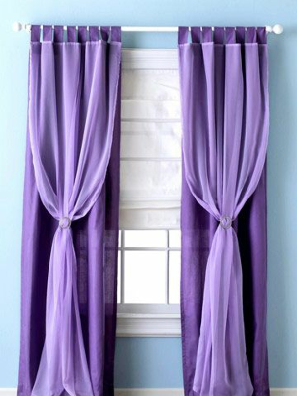 gardinen violett fenster vorhänge schlafzimmer pastellfarben