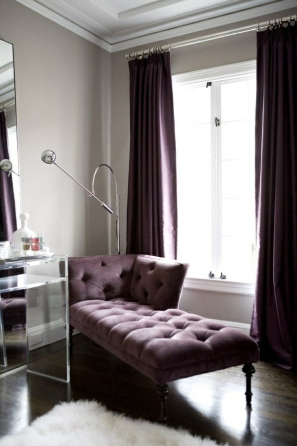 purpurrot fenster vorhänge schlafzimmer ruhebett