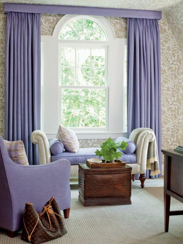 pastell gardinen fenster vorhänge schlafzimmer sitzmöbel