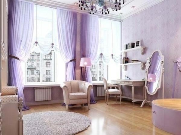 violett gardinen fenster vorhänge schlafzimmer teppich rund