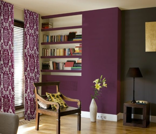 lila gardinen fenster vorhänge schlafzimmer wandfarben