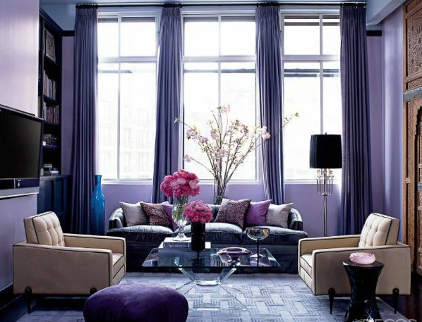 lila gardinen fenster vorhänge wohnzimmer märchenhaft