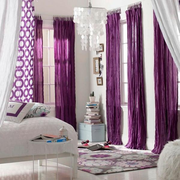 gardinen fenster vorhänge schlafzimmer wohnzimmer purpurrot