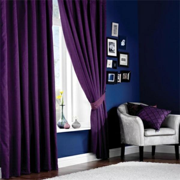 purpurrot gardinen fenster vorhänge sessel wohnzimmer
