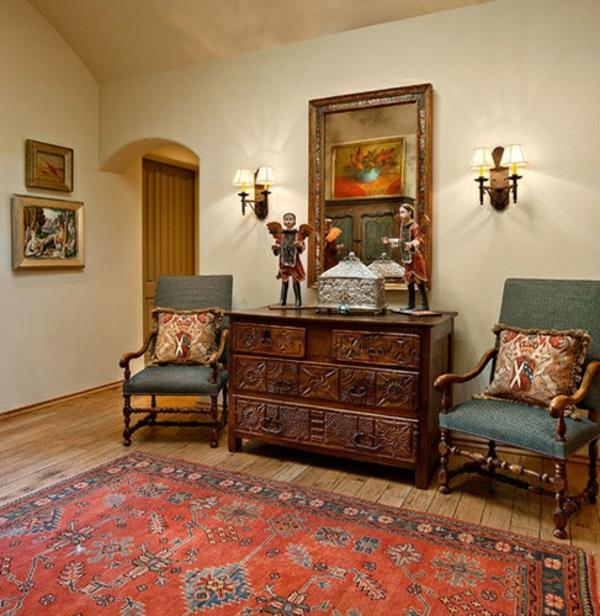 möbel kolonialstil einrichtung wohnzimmer holz kommode stühle