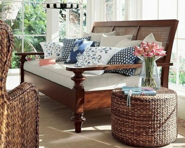 möbel kolonialstil sofa einrichtung wohnzimmer rattan möbel