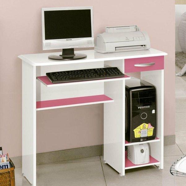 mädchenzimmer einrichten computertische weiß rosa büroeinrichtung pc tisch