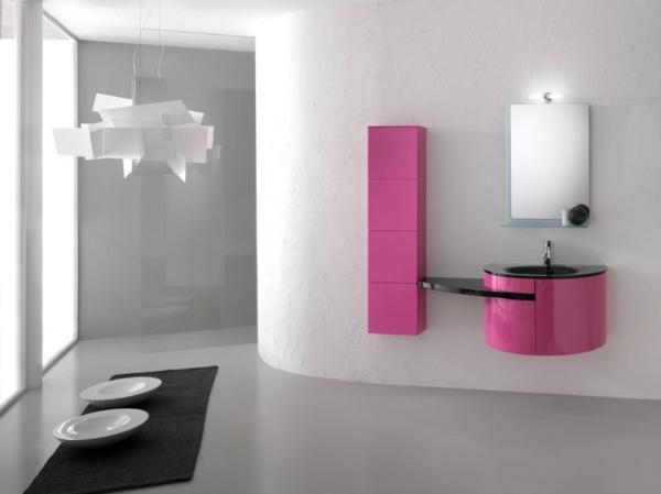 moderne badezimmer möbel futuristisch manimalistisch farbakzente pink wandfarbe weiß