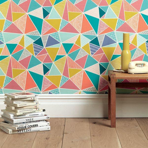 Moderne Wandgestaltung Mit Tapeten Farbige Wandgestaltung Dreiecken