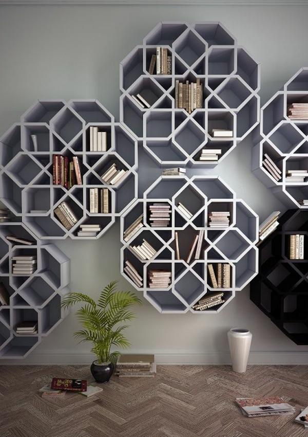 Moderne Wandgestaltung Wandregale Holzregale Rund Wandgestaltung Wohnzimmer  ...