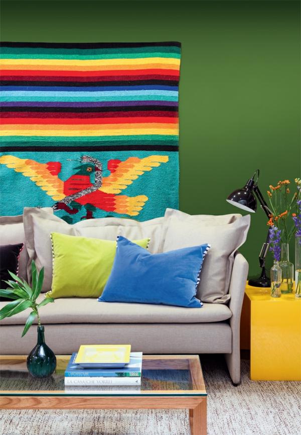 Moderne Wandgestaltung Wohnzimmer Sofa Couchtisch Holz Farbige  Wandgestaltung