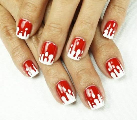 nagellack blutige idee für halloween nageldesigns bilder rot weiß