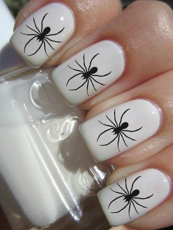 nagellack halloween weiß nageldesigns bilder schwarze spinnen