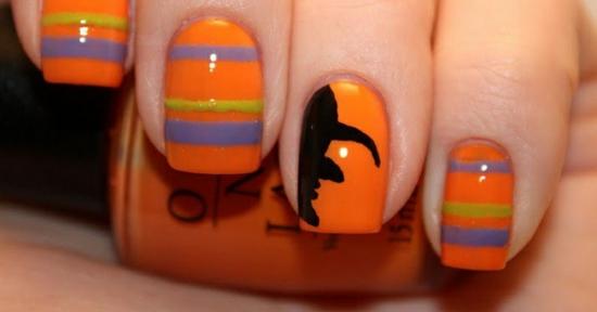 nagellack ideen halloween nageldesigns bilder hexe orange