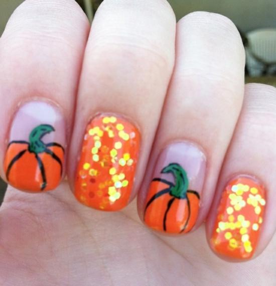 nagellack ideen halloween nageldesigns bilder kürbis