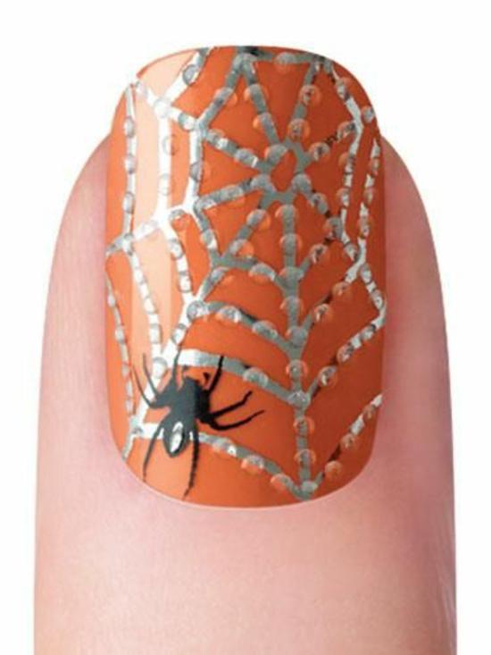 nagellack ideen halloween nageldesigns bilder spinne und netz