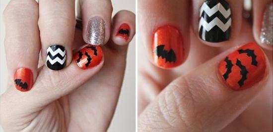 nagellack ideen halloween orange schwarz weiß fledermaus