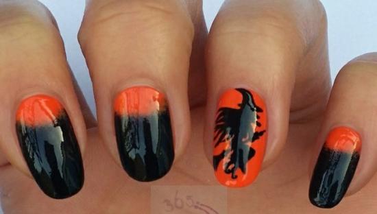 nagellack ideen nageldesigns halloween orange schwarz hexe