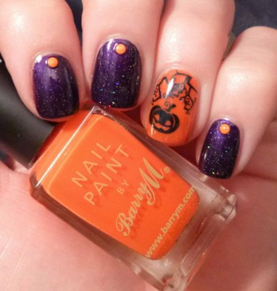 nagellack ideen nageldesigns halloween orange