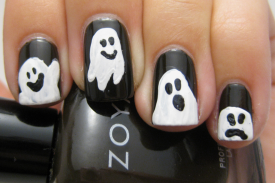 nagellack ideen nageldesigns halloween schwarz weiß gespenster