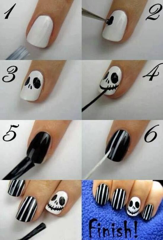 nagellack ideen nageldesigns halloween schwarz weiß streifenmuster
