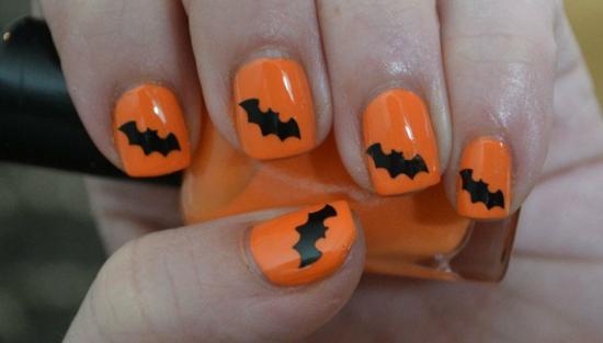nagellack ideen orange schwarz fledermaus halloween party