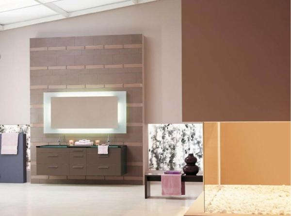 neutrale farbgestaltung brauntöne wandfarbe badezimmer beige braun