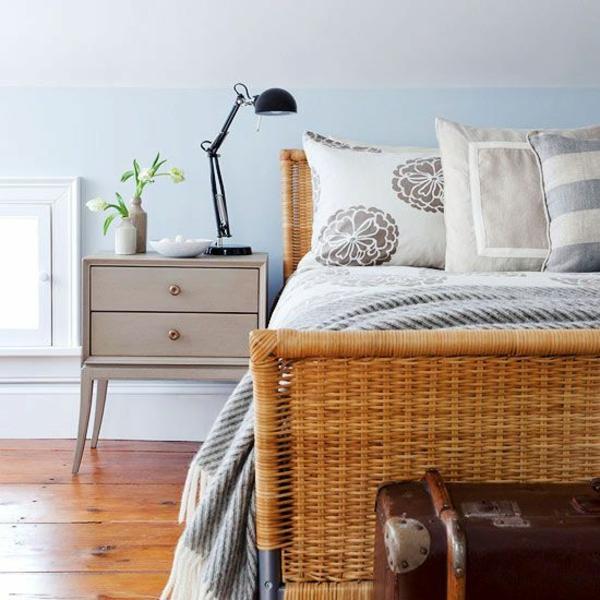 rattan tischlampen bett schlafzimmer möbel einrichten kommode