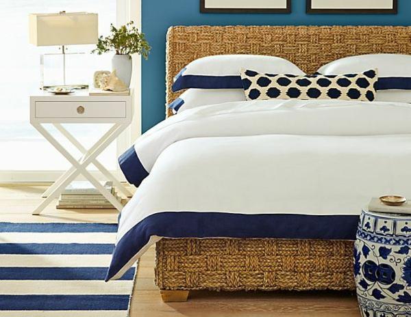 Elegant Rattan Bett Schlafzimmer Möbel Einrichten Nautisch Stil
