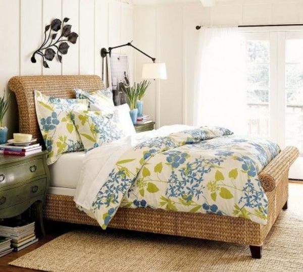 rattan bett schlafzimmer möbel einrichten stehlampe