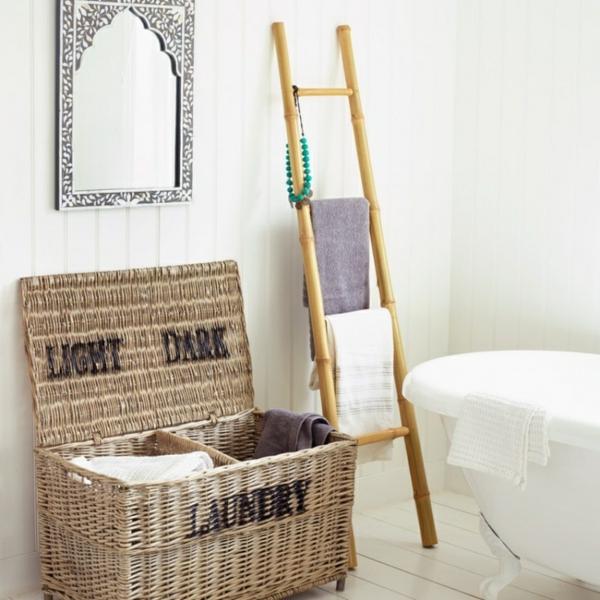 rattan flechtmöbel wäschekorb handtuchleiter bambus badmöbel freistehende badewanne