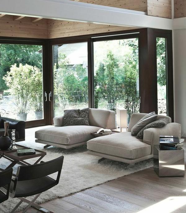 relaxliegen wohnzimmer relax sofa fransenteppich einrichtungsideen relax ecke gestaltten