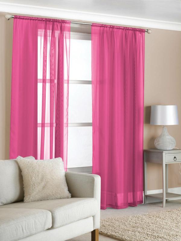 wohnideen wohnzimmer gardinen:rosa gardinen organza gardinen ...