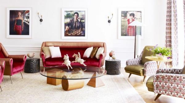 runder couchtisch glas holzbeine einrichtung wohnzimmer sofa