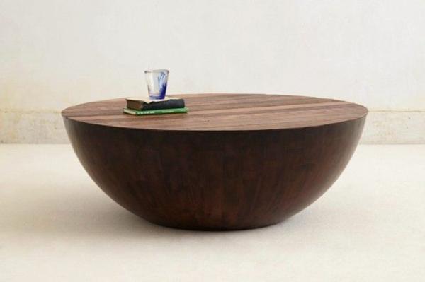 runder couchtisch holz massivholz wohnzimmer einrichtungsideen designer möbel