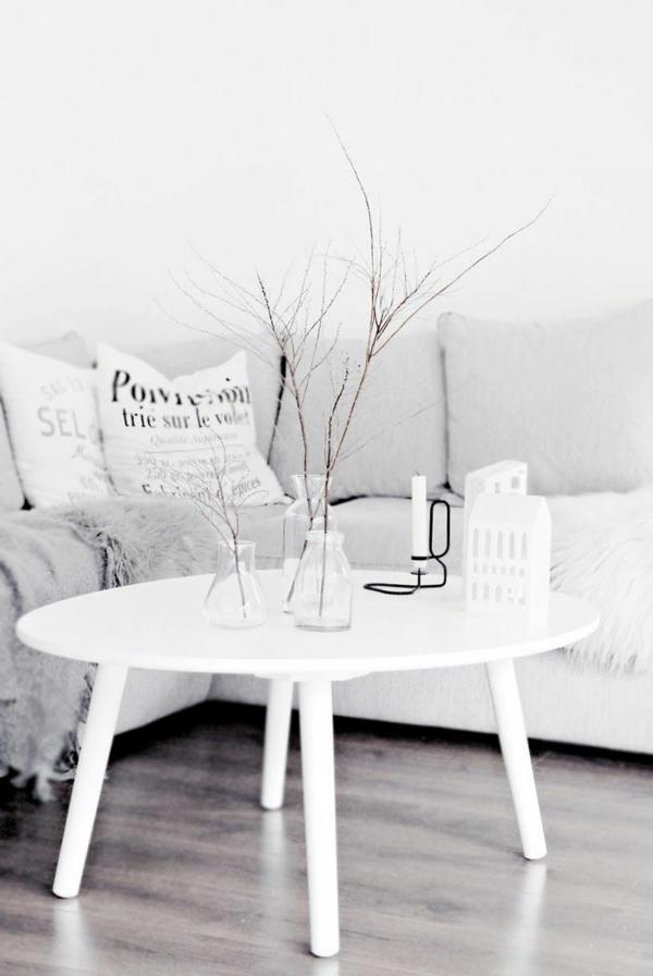 runder couchtisch holz weiß wohnzimmer einrichtungsideen