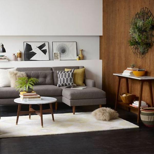 runder couchtisch wohnzimmer einrichtungsideen teppich holzboden