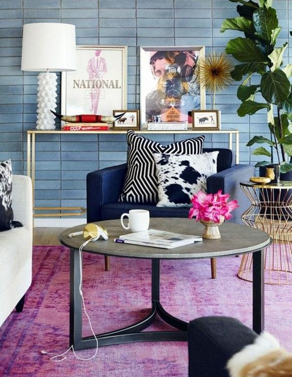 runder couchtisch wohnzimmer einrichtungsideen teppichboden